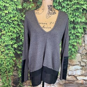 ZARA Mixed Media V-Neck Sweater, S